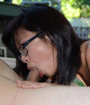Cute Emo Hipster Asian Teen Sucking A Big Cock