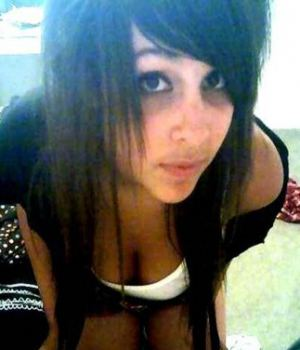 Emo Teen Shows Her Cleavage