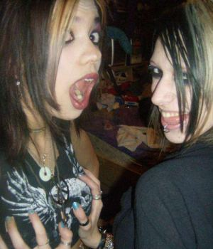Cute Goth Girls Making Out On Camera