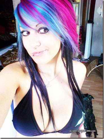 Super Cute Blue Haired Emo Teen Posing